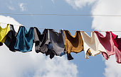Laundry line with clothes