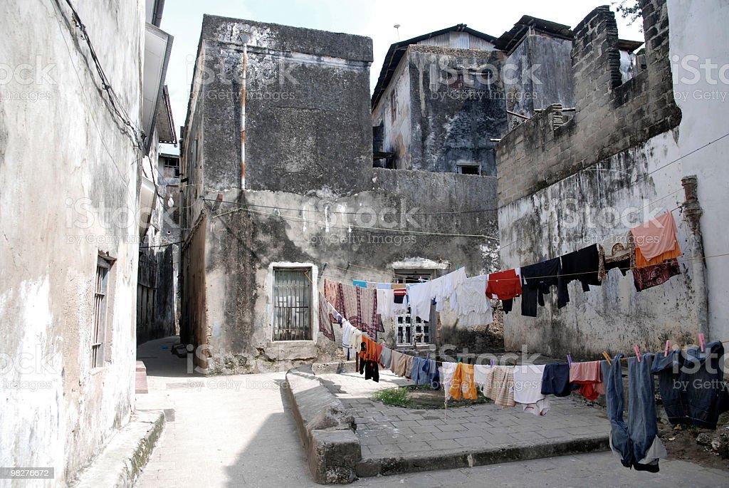 laundry on clothesline in Stone Town, capital of Zanzibar, Tanzania royalty-free stock photo