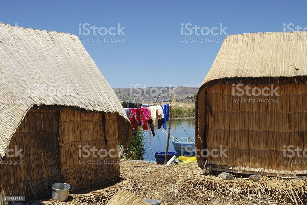 Laundry on Lake Titicaca royalty-free stock photo