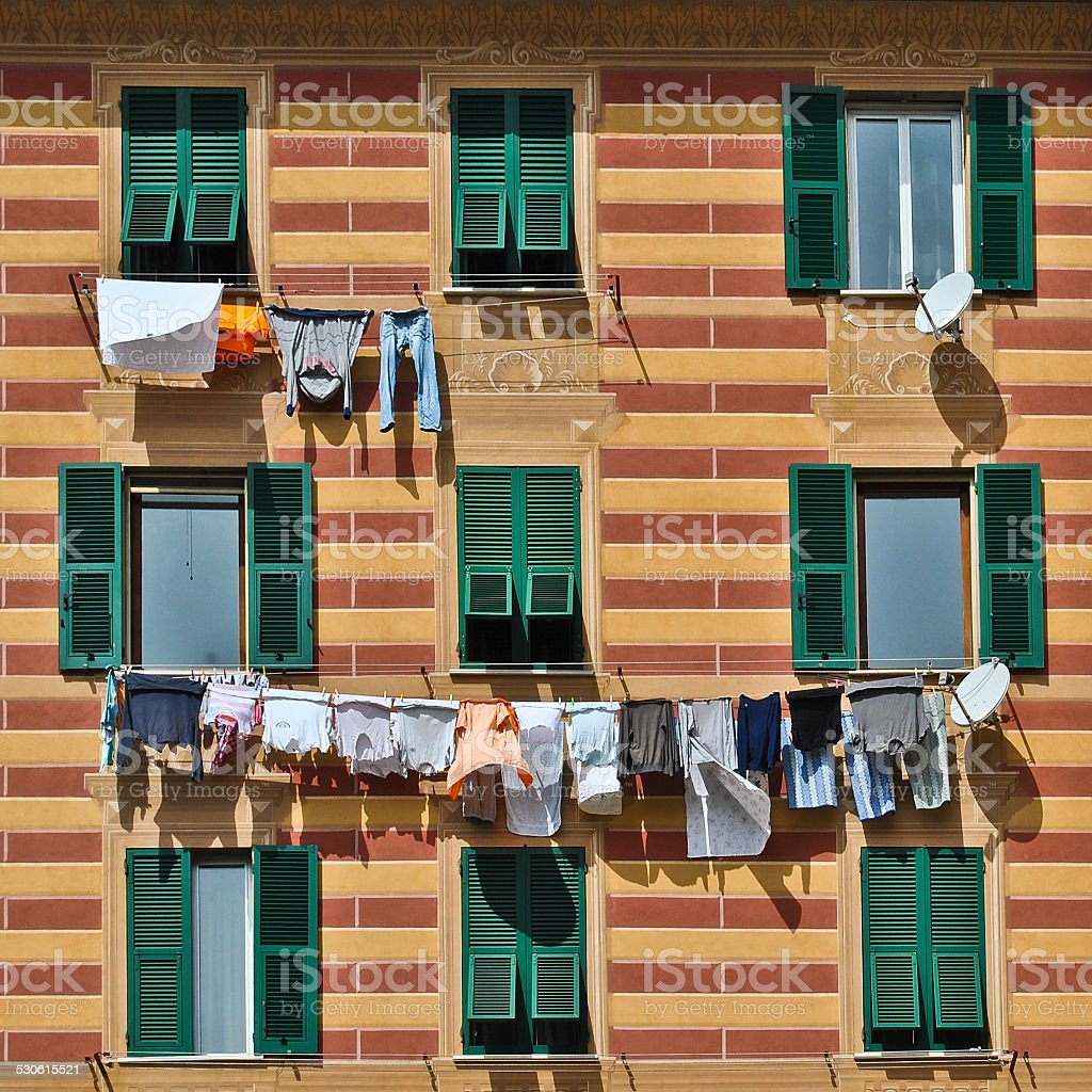 Laundry on the line stock photo
