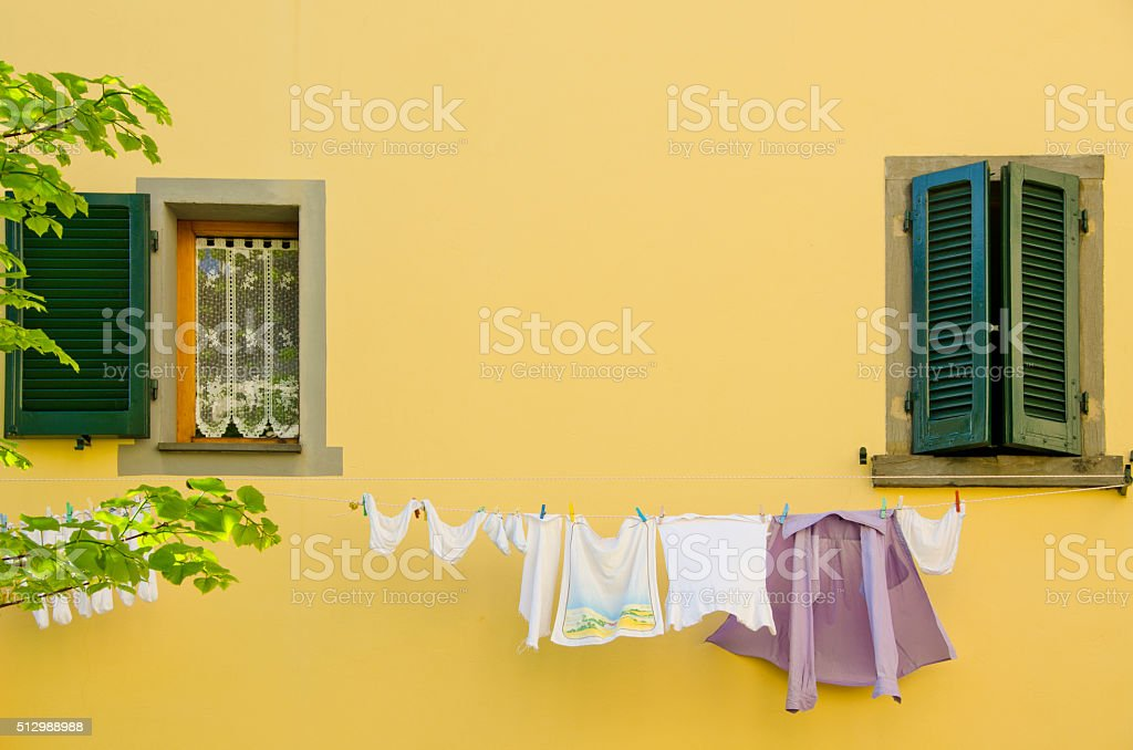 Laundry Out The Window stock photo