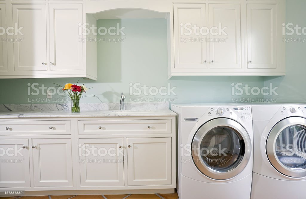 Laundry Room with Washer and Dryer stock photo