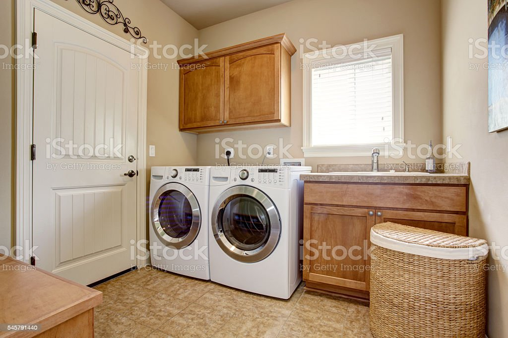 Laundry room with washer and dryer. stock photo
