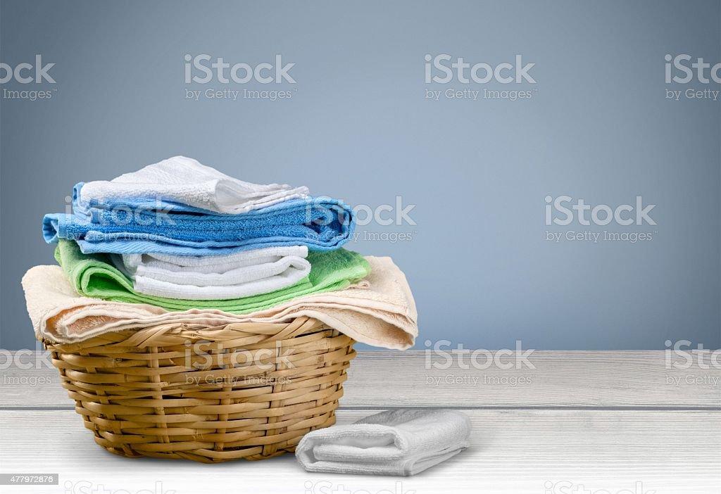 Laundry, Towel, Laundry Basket stock photo
