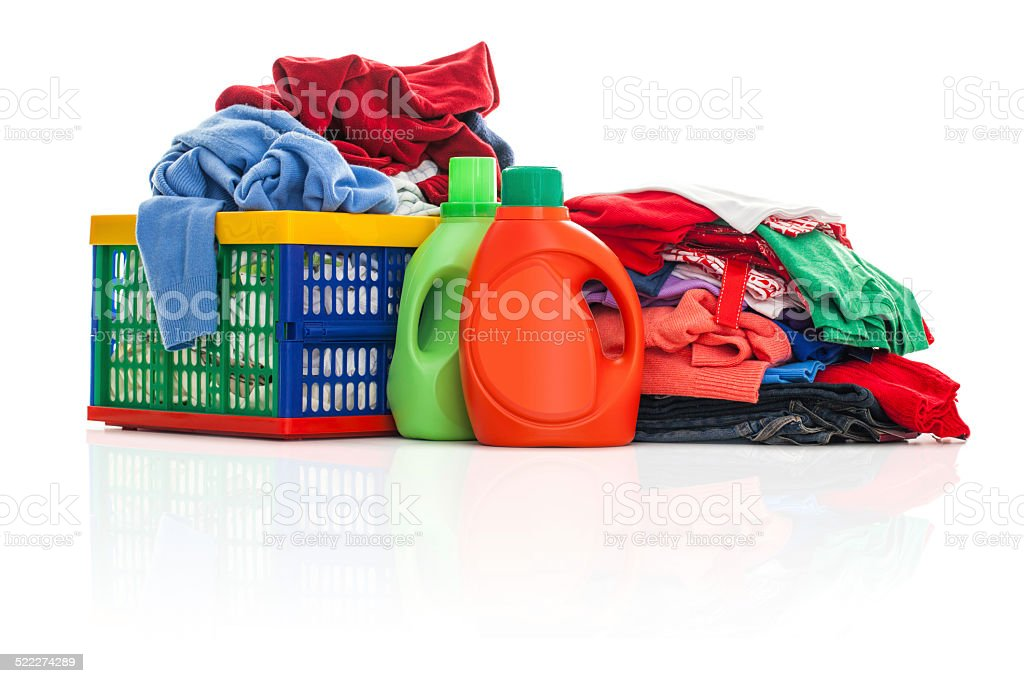 Laundry with blank detergent box stock photo