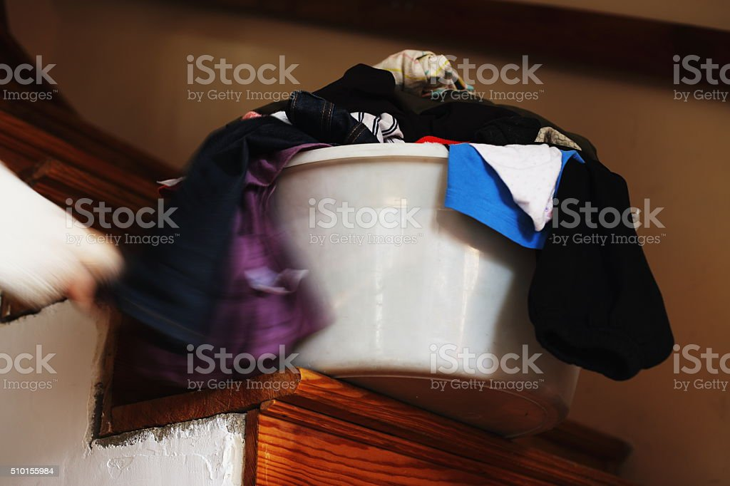 Laundry with human hand royalty-free stock photo