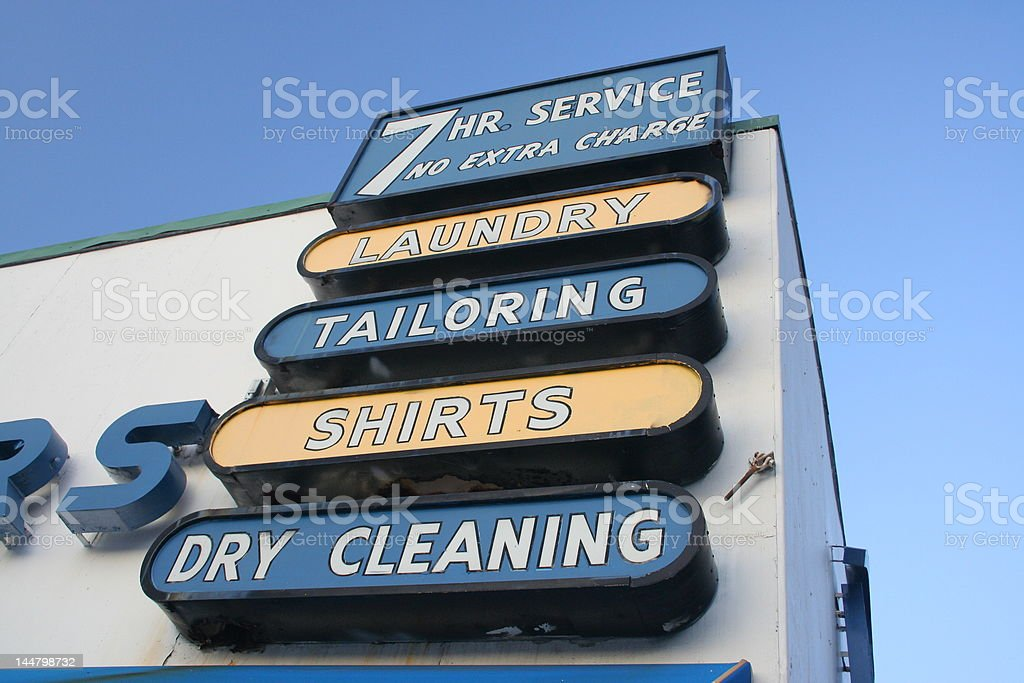 Laundy/Dry Cleaners Sign stock photo