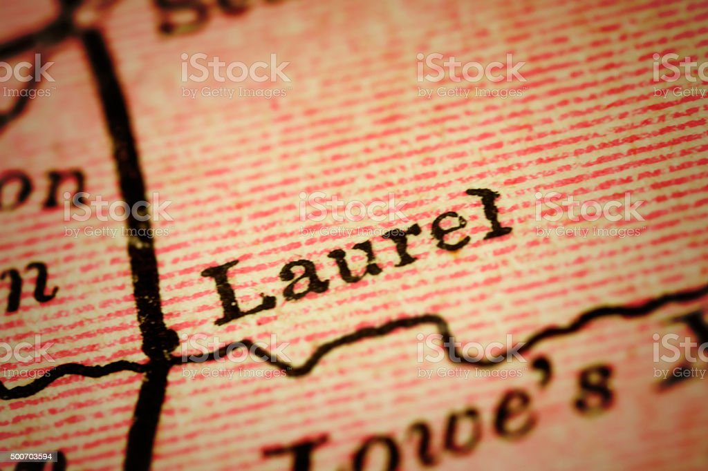 Laurel, Delaware on an Antique map stock photo