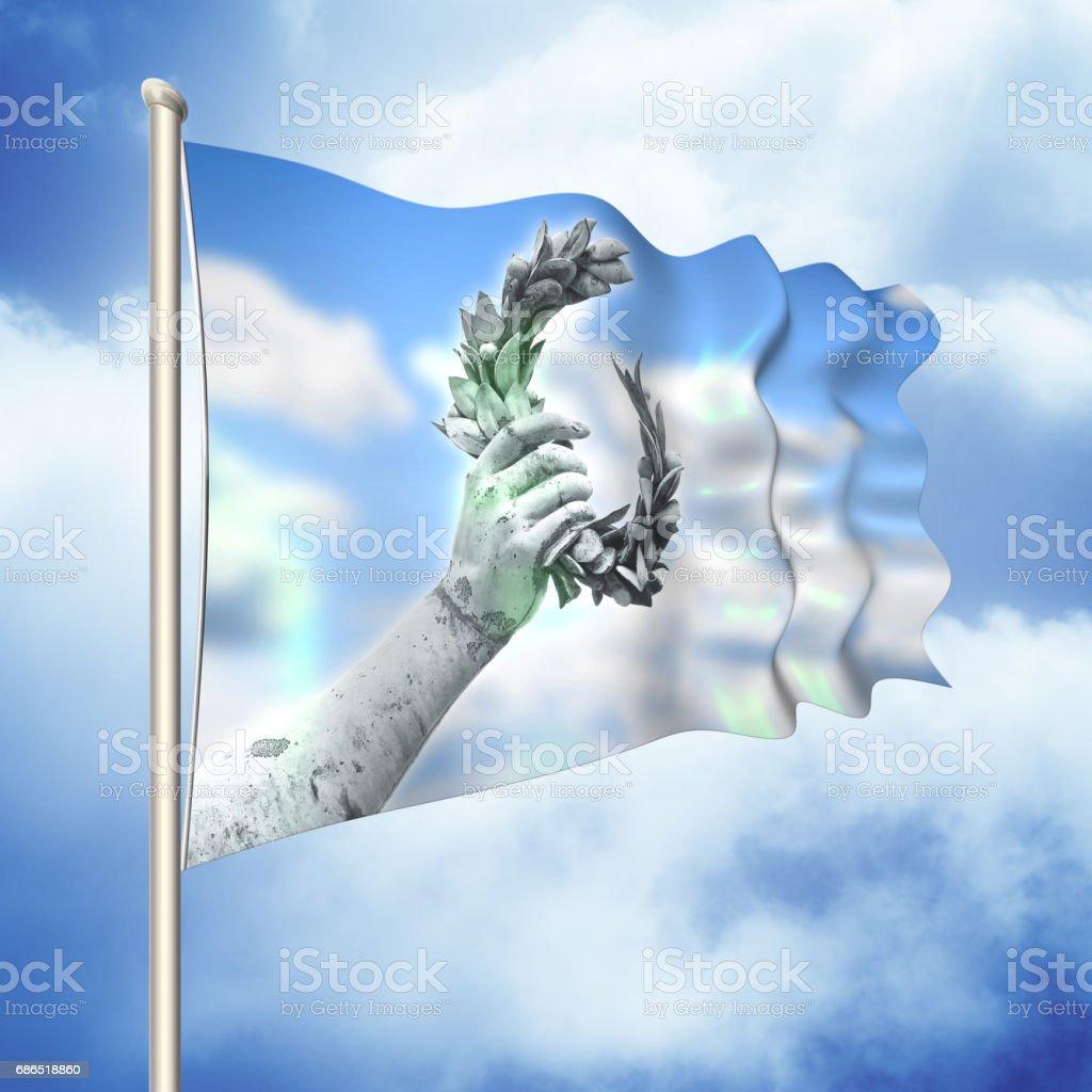 Laurel wreath hand held by a bronze statue - 3D render flag concept stock photo