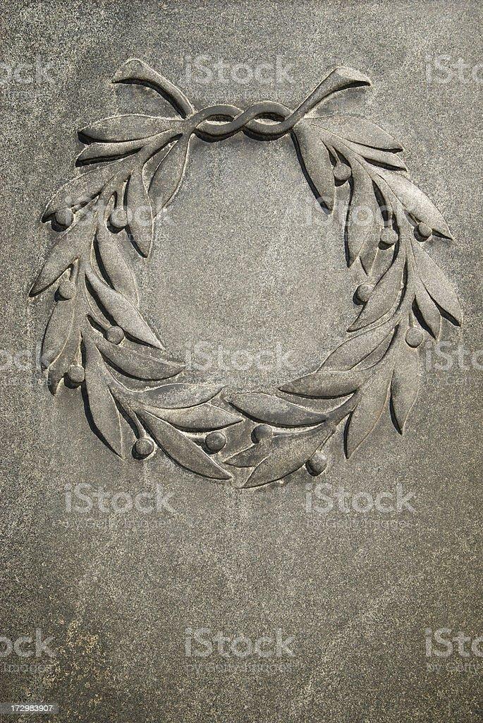 Laurel Wreath in Stone Vertical stock photo