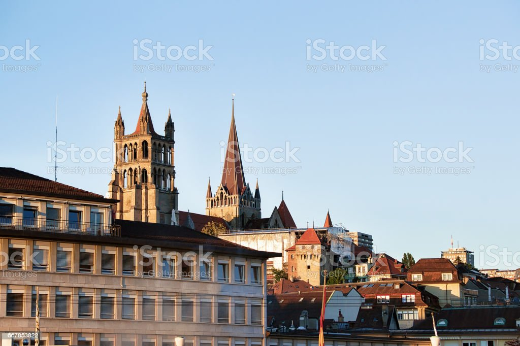 Lausanne Cathedral of Notre Dame stock photo