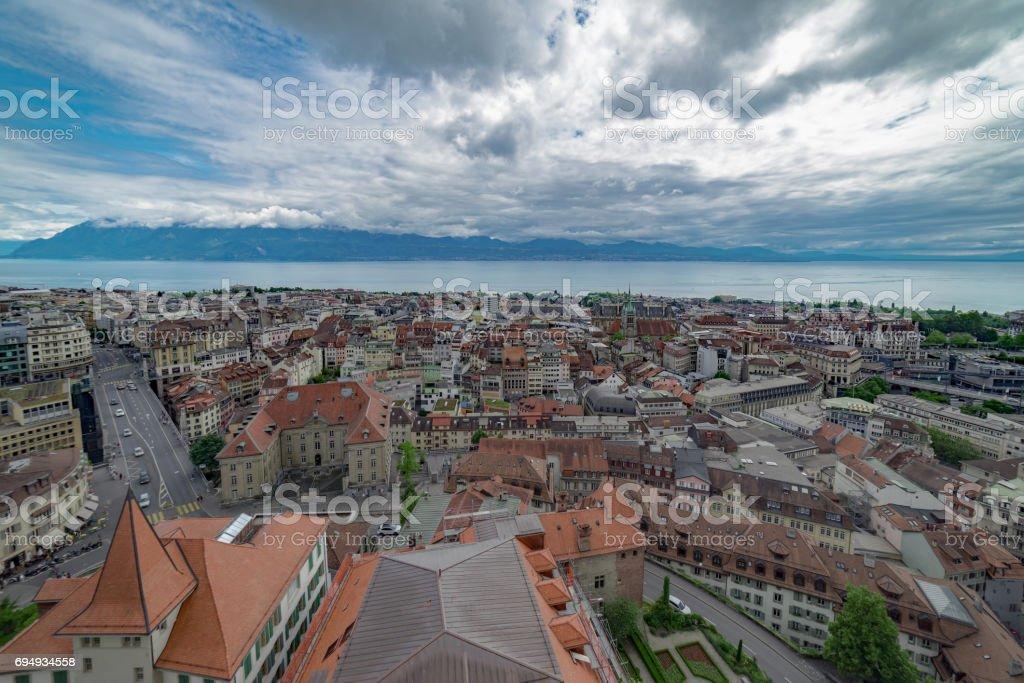 Lausanne skyline in Switzerland stock photo