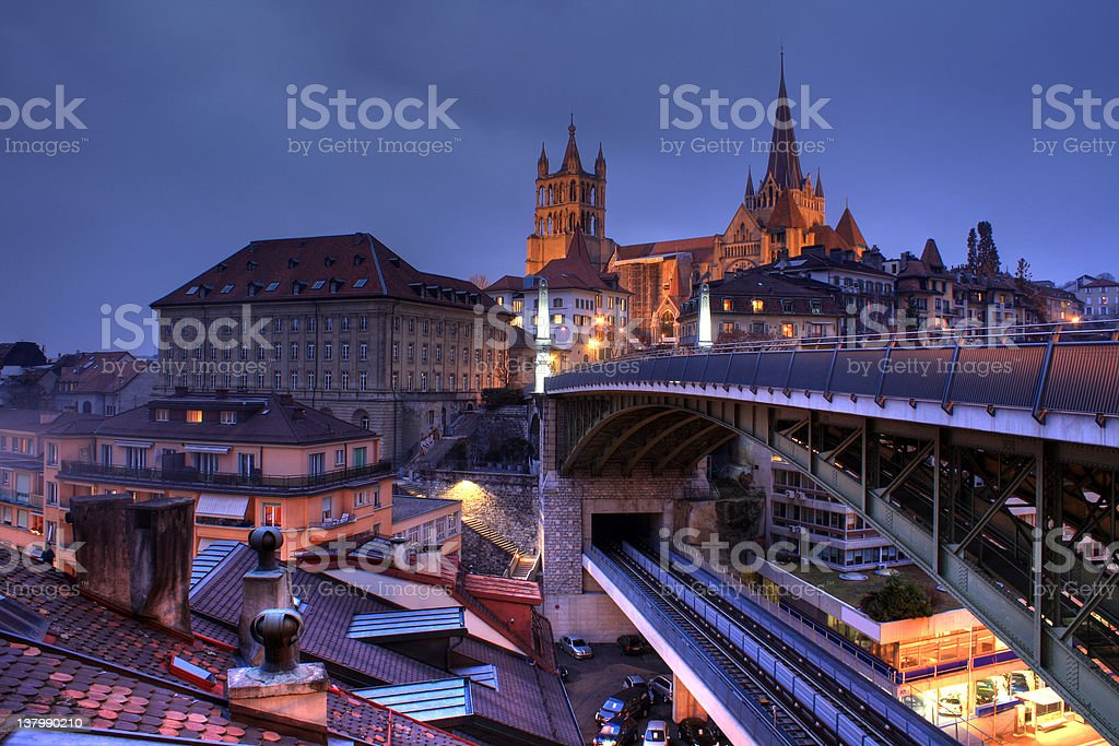Lausanne skyline, Switzerland royalty-free stock photo