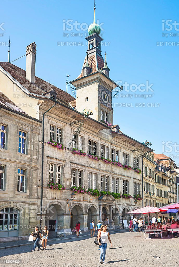 Lausanne Town Hall (Hotel de Ville) in summerime stock photo