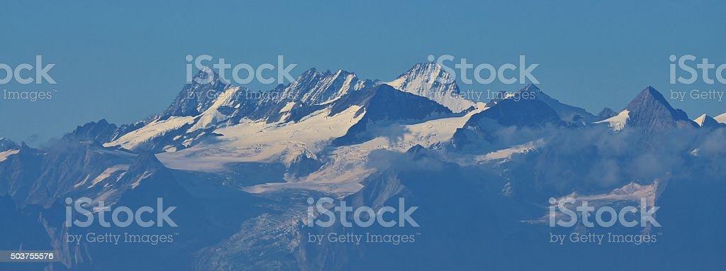 Lauteraarhorn and Gauligletscher, view from Mt Pilatus stock photo