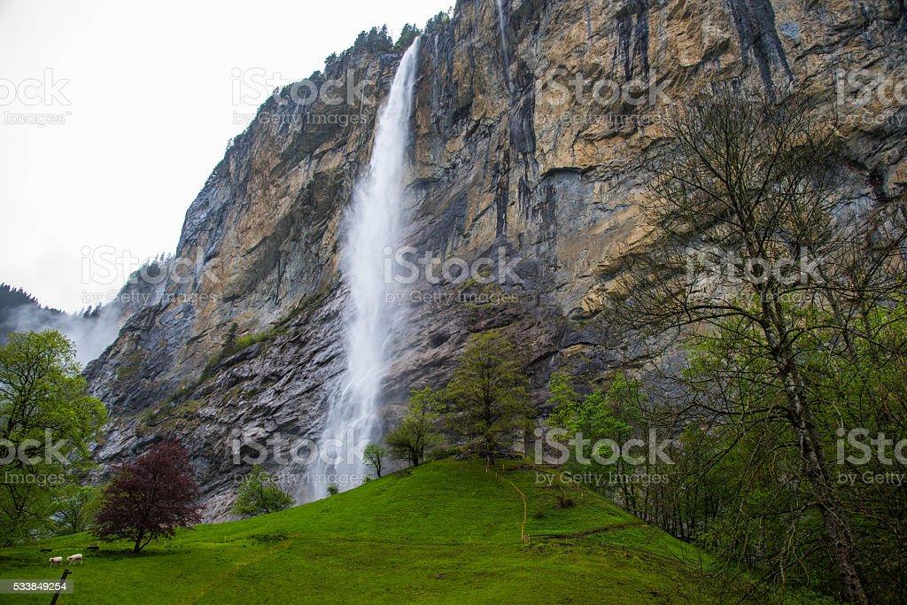Lauterbrunen waterfall stock photo
