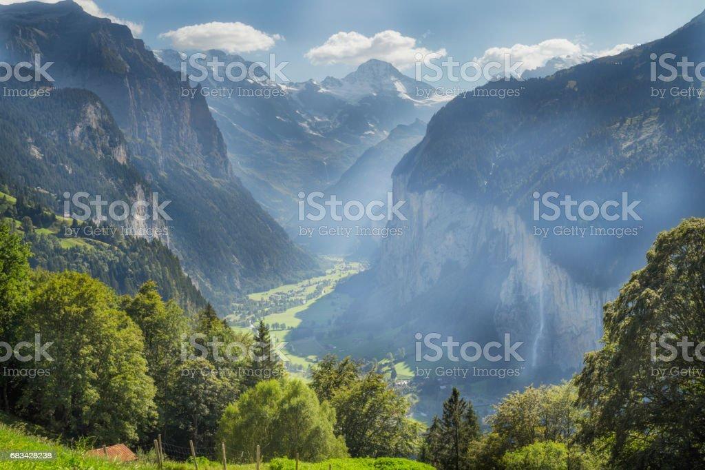 Lauterbrunnen Valley,  Bern, Switzerland stock photo