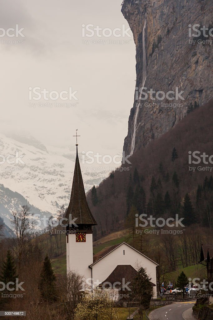 Lauterbrunnen valley Bernese Alps, Switzerland. Valley with high water fall stock photo