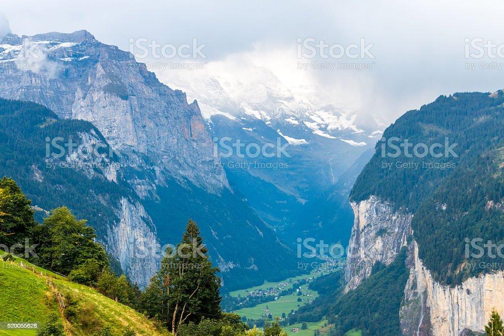 Lauterbrunnen Valley in Bernese Oberland, Switzerland stock photo