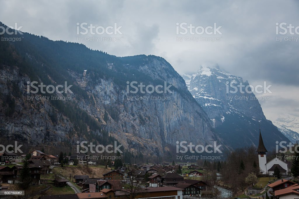Lauterbrunnen valley in the Bernese Alps, Switzerland. stock photo