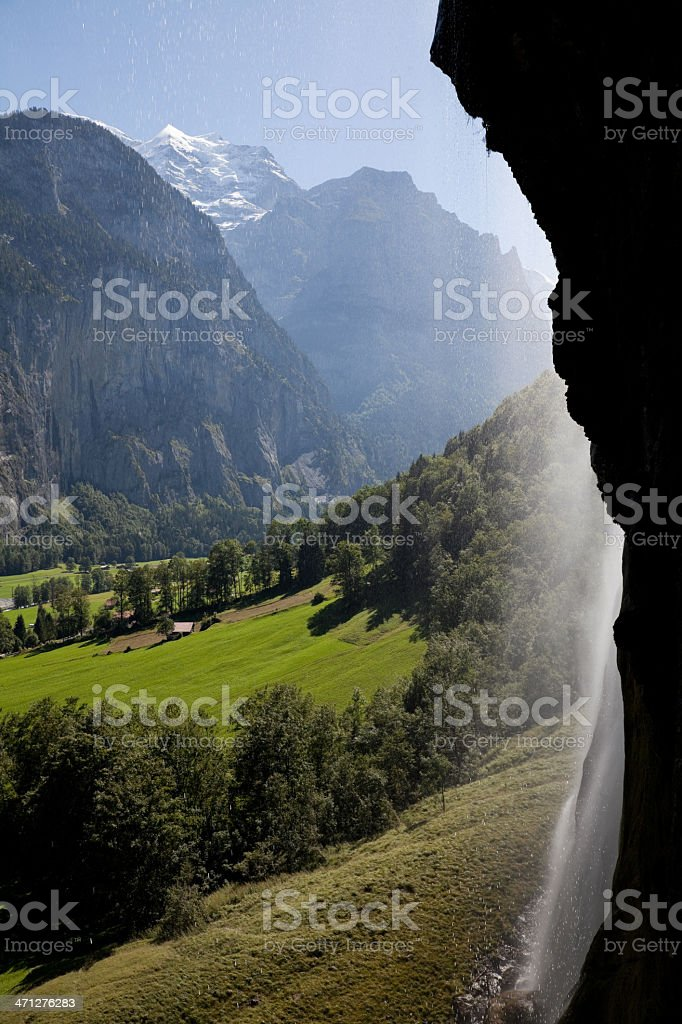 Lauterbrunnen Valley, Staubbach Falls, Base Jumpers Paradise, Jungfrau Region, Switzerland royalty-free stock photo