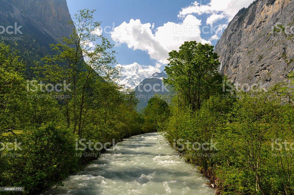 Lauterbrunnen Valley Stream stock photo