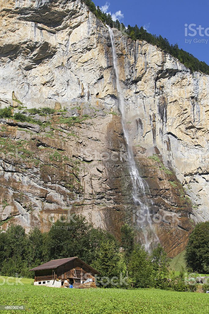 Lauterbrunnen waterfall stock photo