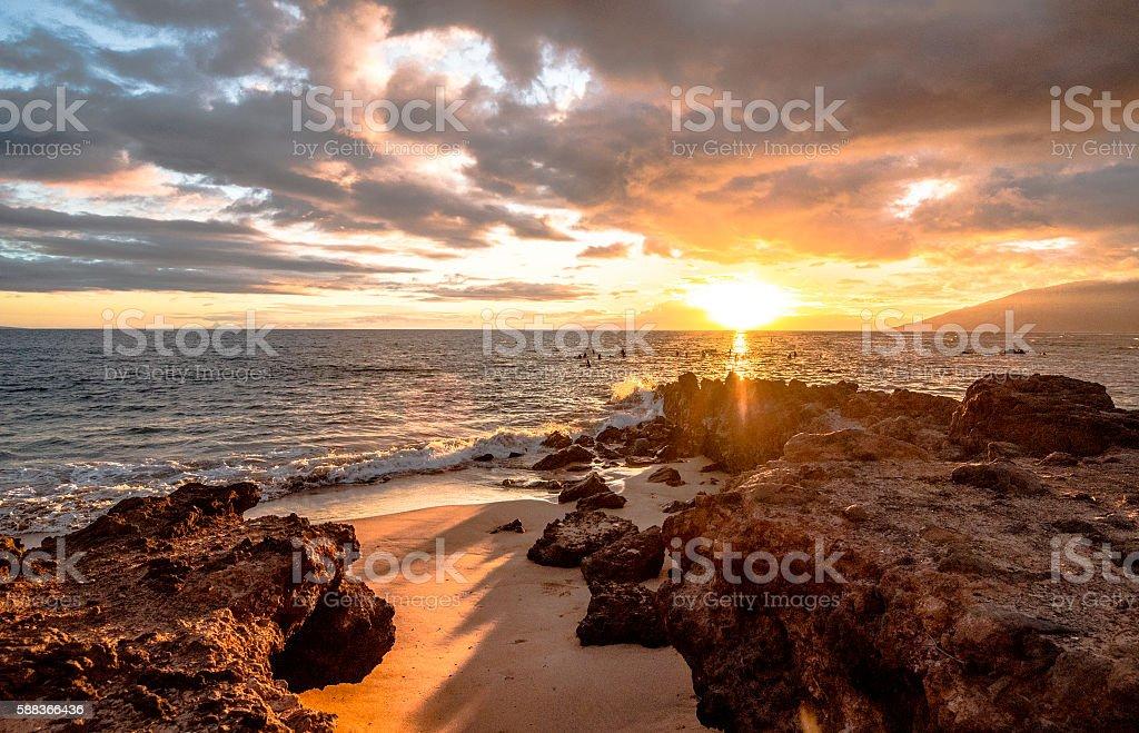 Lava Casts Shadows on Maui at Sunset stock photo