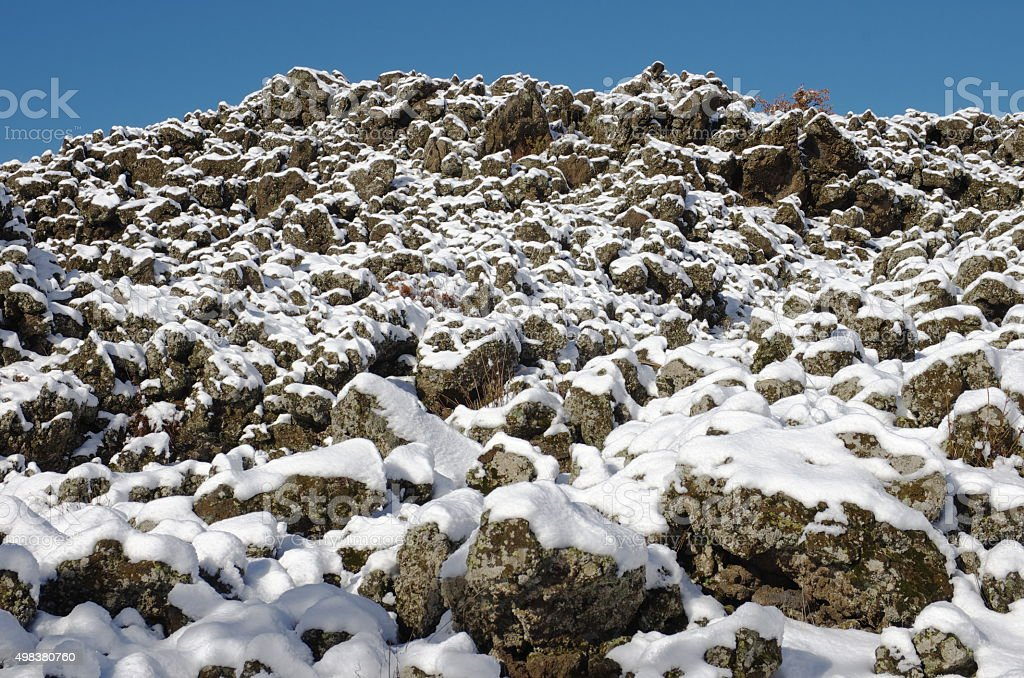 Lava Covered By Snow stock photo