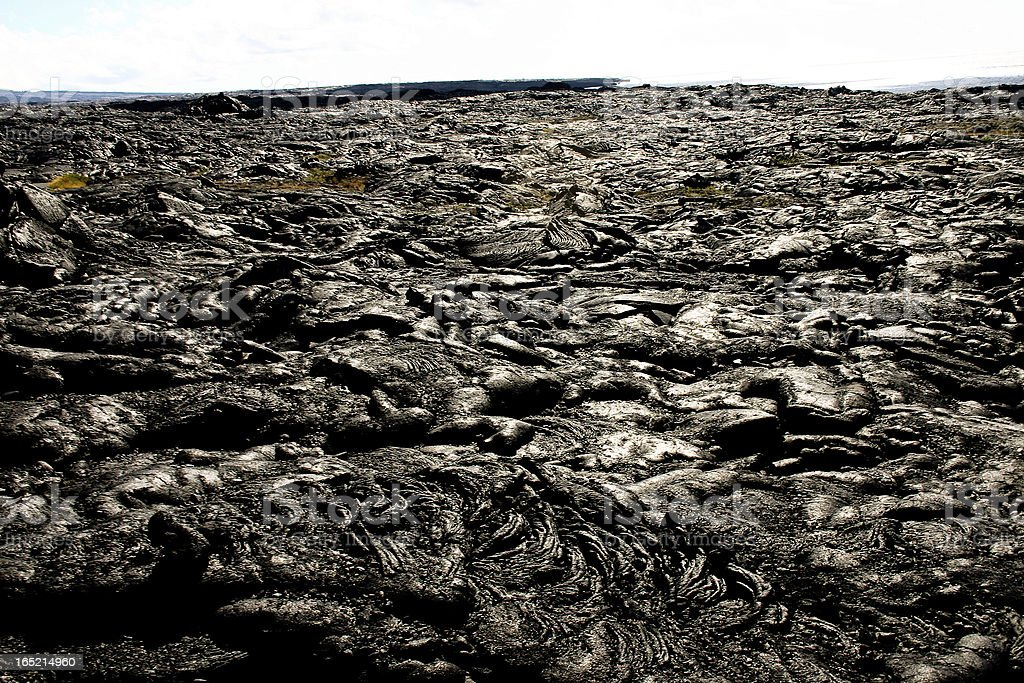 Lava covering the gounds of Hawaii volcanoes national park royalty-free stock photo