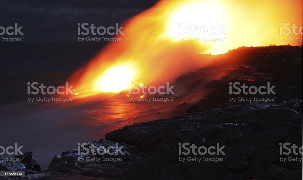 Lava entry in to the ocean (Big Island, Hawaii) stock photo