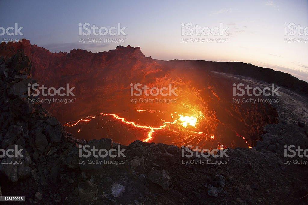 Lava eruption inside the volcano stock photo