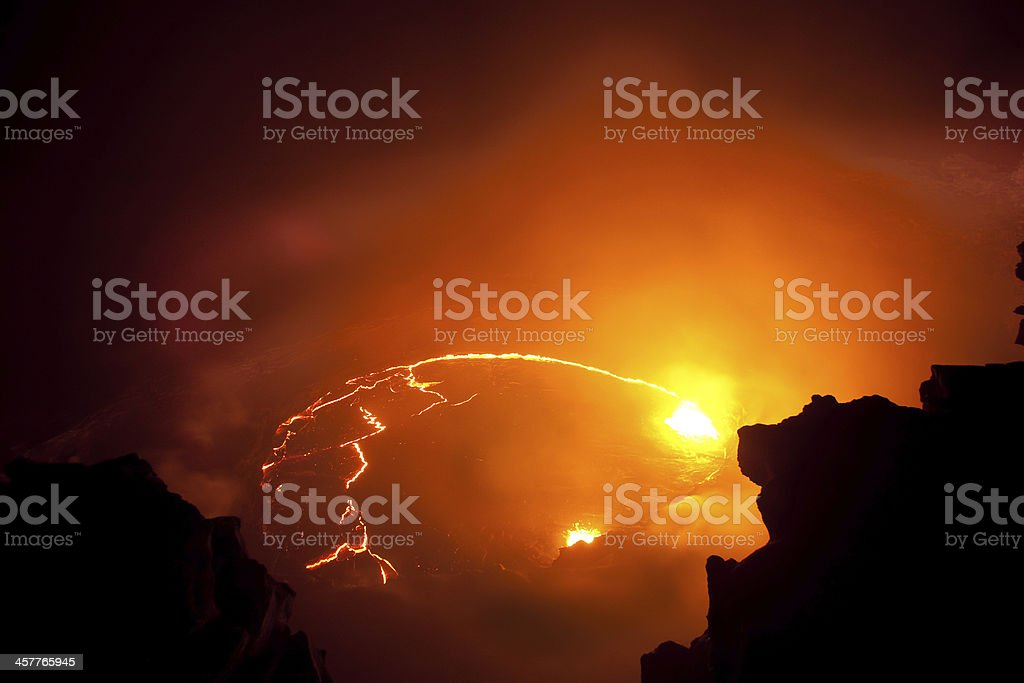 Lava eruption inside the volcano stock photo