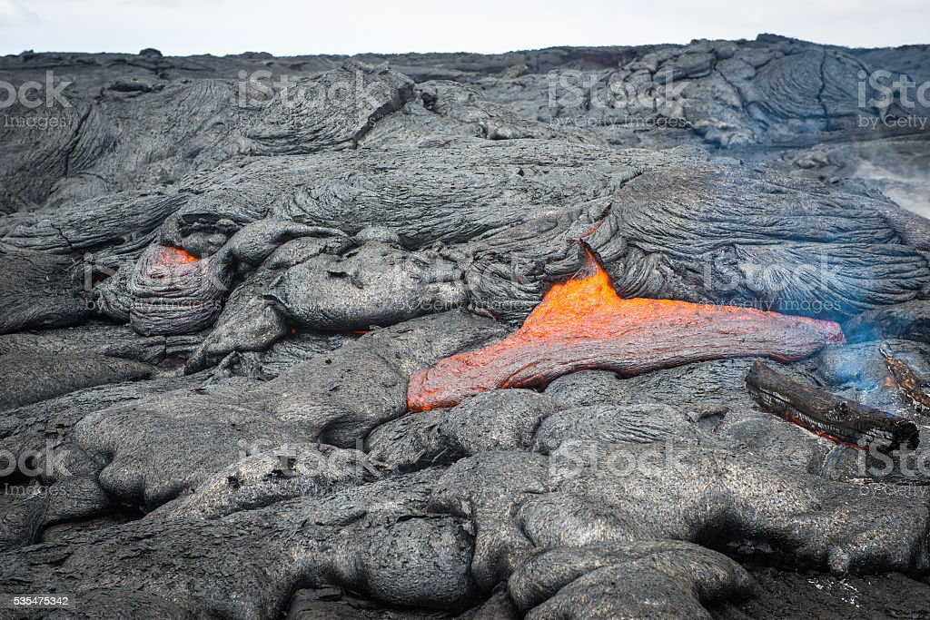 Lava field, Big Island, Hawaii stock photo
