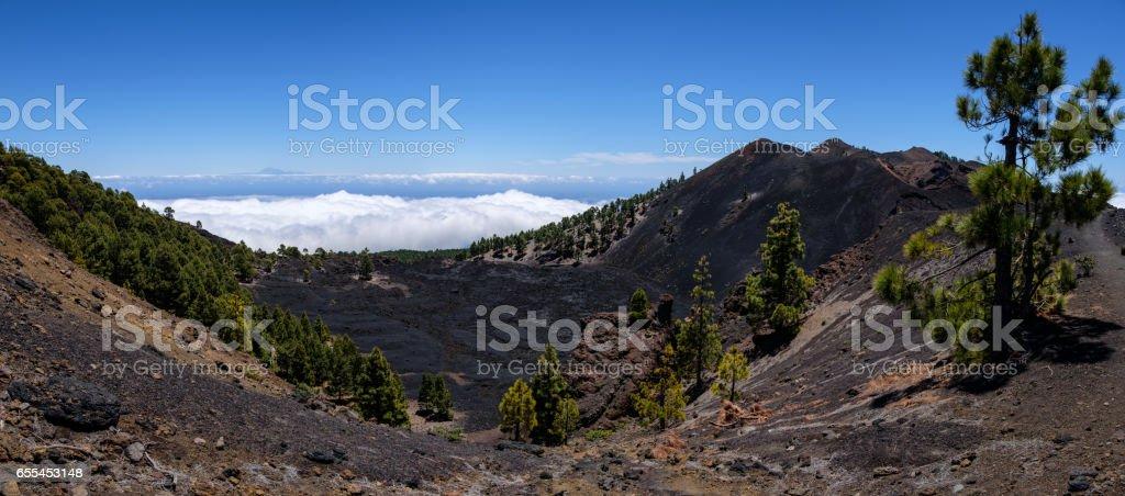 Lava field Malforado and crater of vocano Duraznero, Ruta de los Volcanes, Cumbre Vieja, La Palma, Spain stock photo