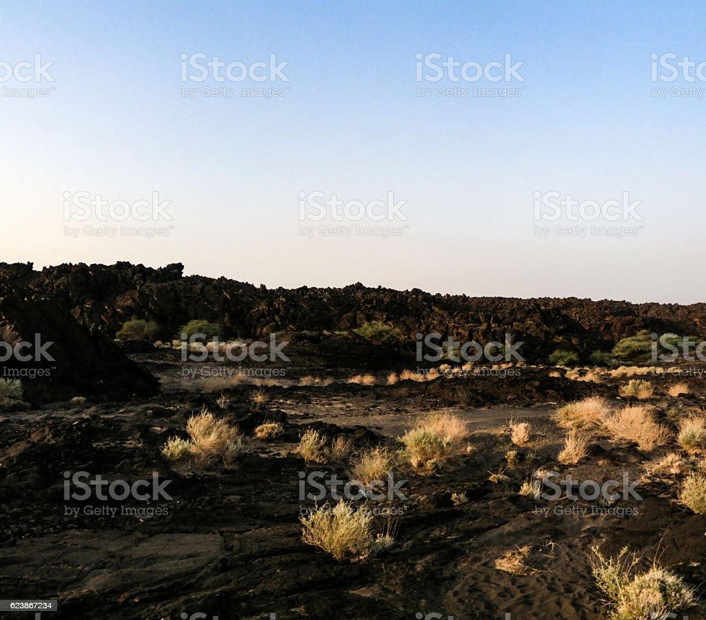 Lava fields around Erta Ale volcano, Danakil, Afar Ethiopia stock photo