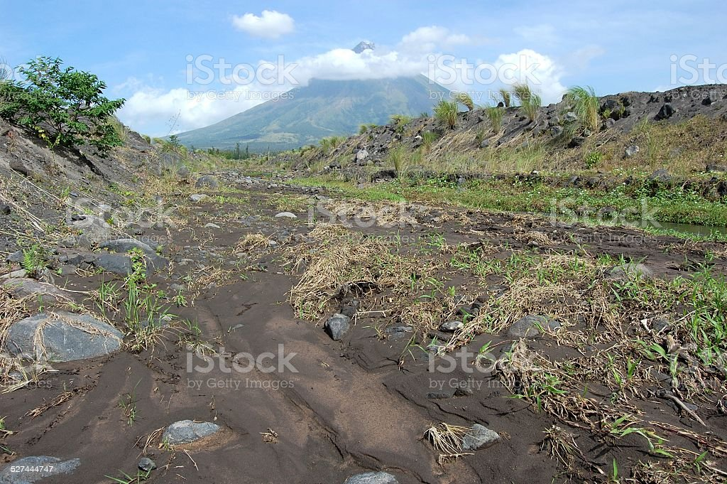 Lava fields, Mayon volcano Philippines stock photo