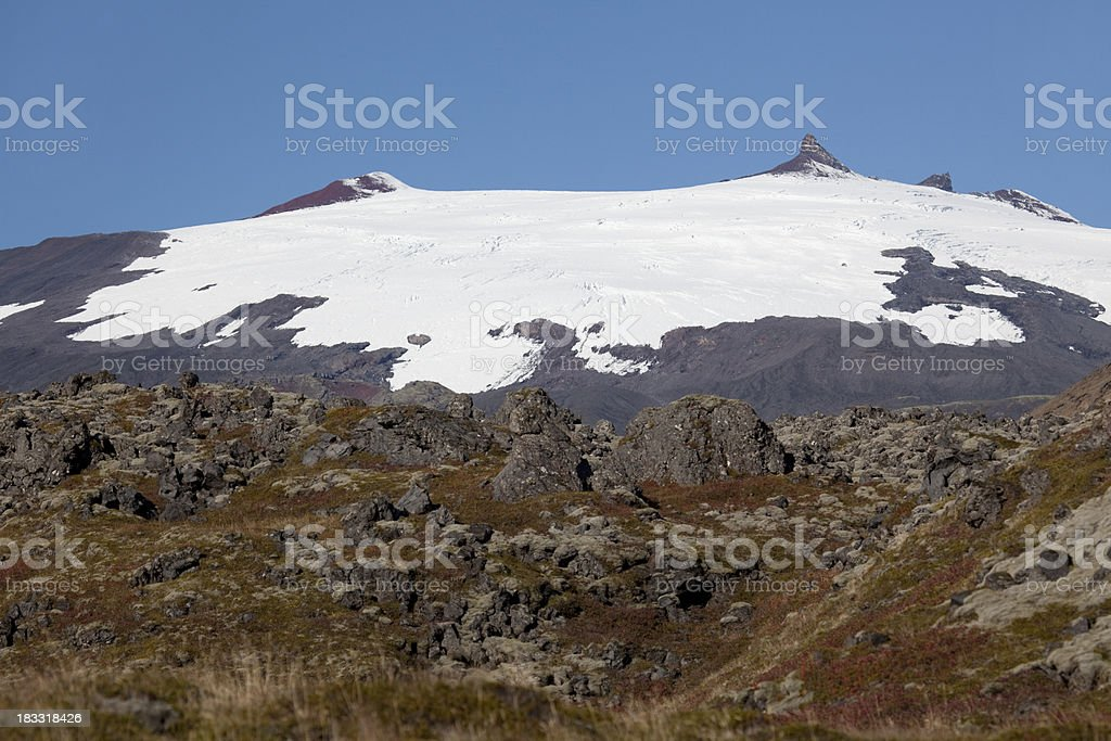 Lava fields with Snaefellsjokull Volcano and National Park Iceland royalty-free stock photo