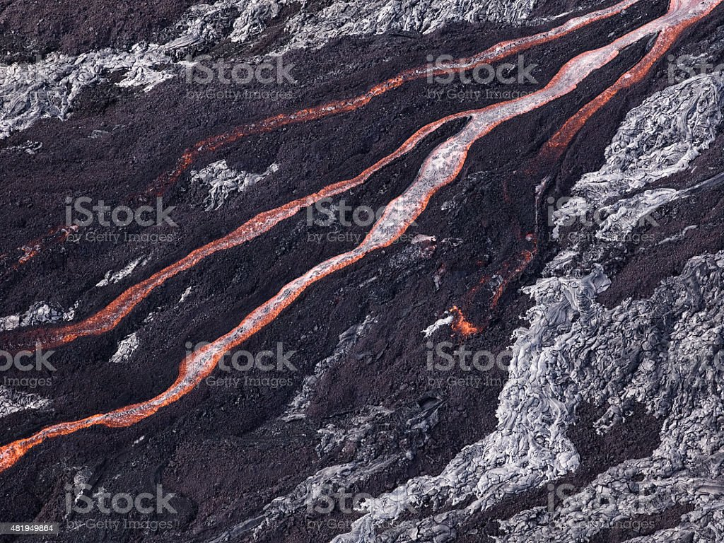 Lava flow at Hawaii Volcano National Park stock photo