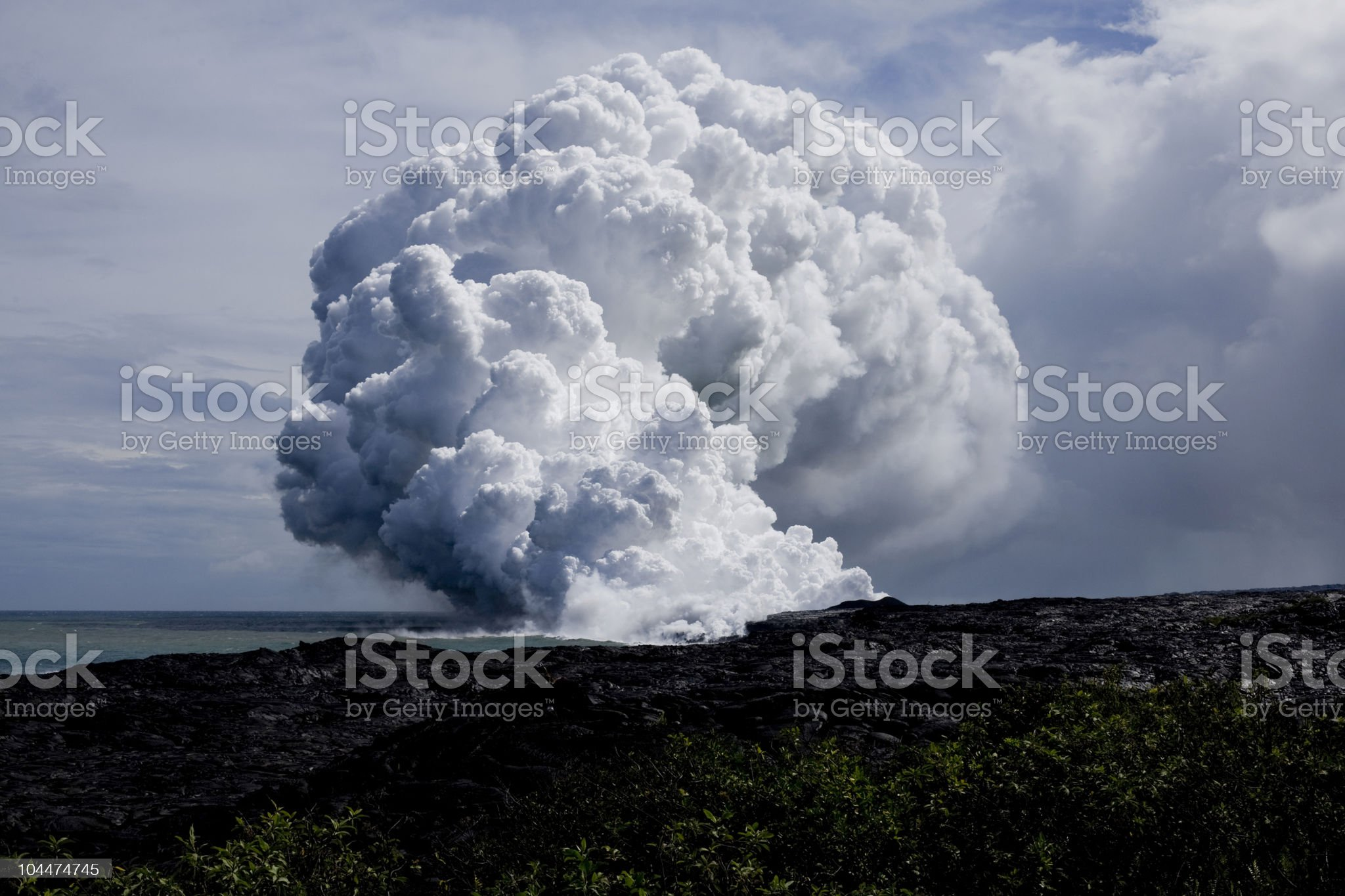Lava Flow at Ocean royalty-free stock photo