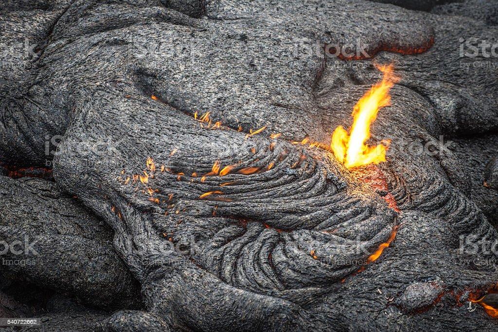 Lava Flow Close up stock photo