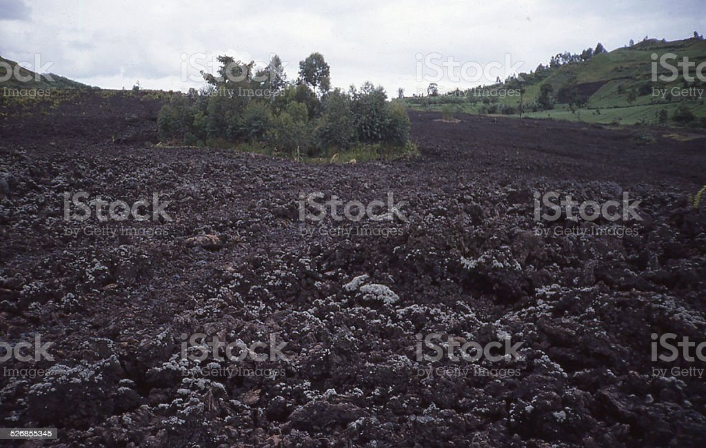 Lava Flow Nyiragongo Volcano North Kivu Republic Congo Central Africa stock photo