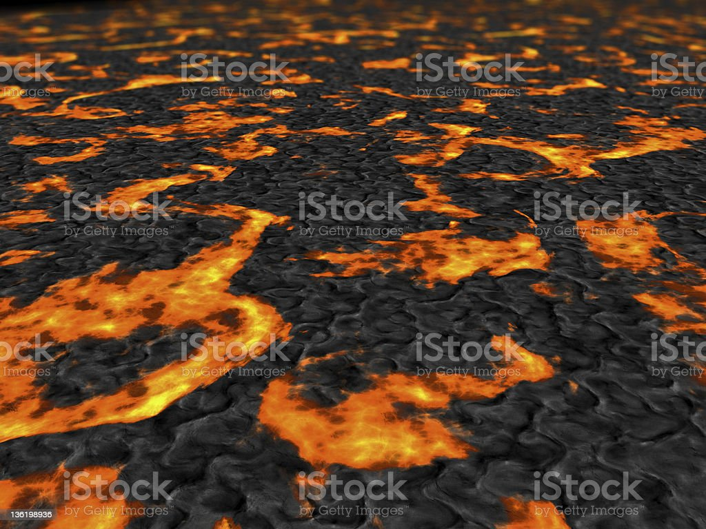 Lava flowing royalty-free stock photo