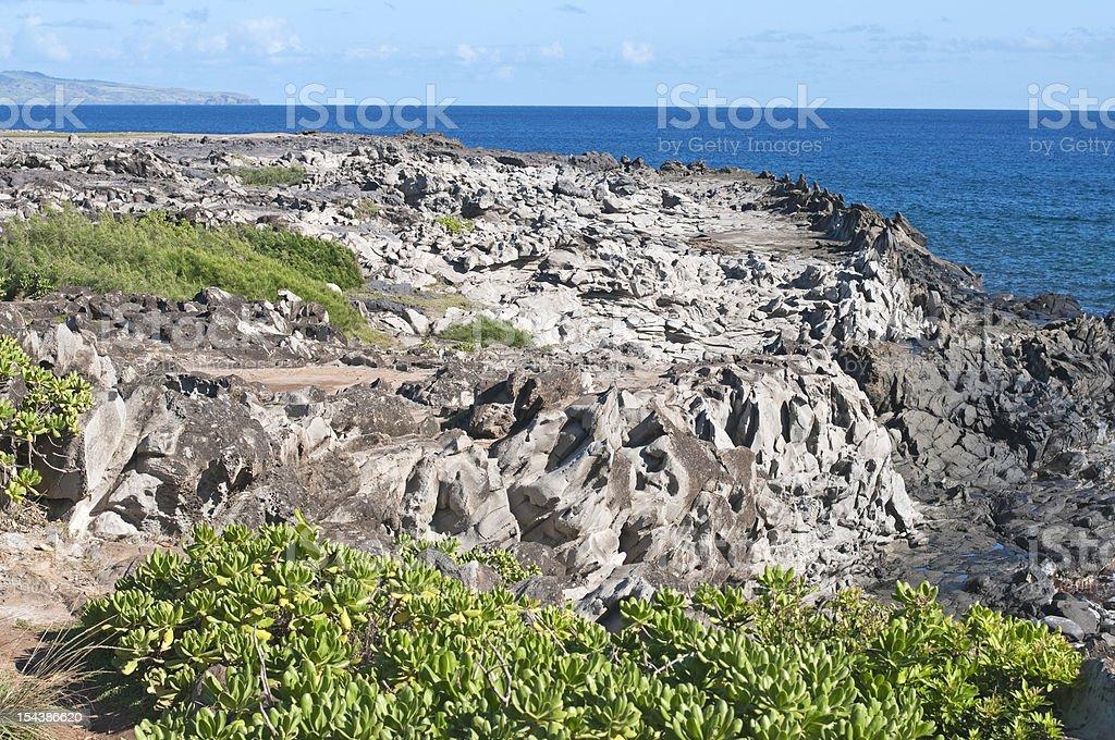 Lava headland on island of Maui royalty-free stock photo
