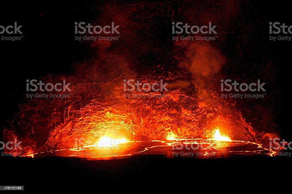 Lava Lake at Kilauea Volcano stock photo