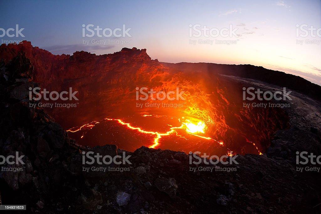 Lava lake of Erta Ale volcano Danakil Depression Ethiopia stock photo