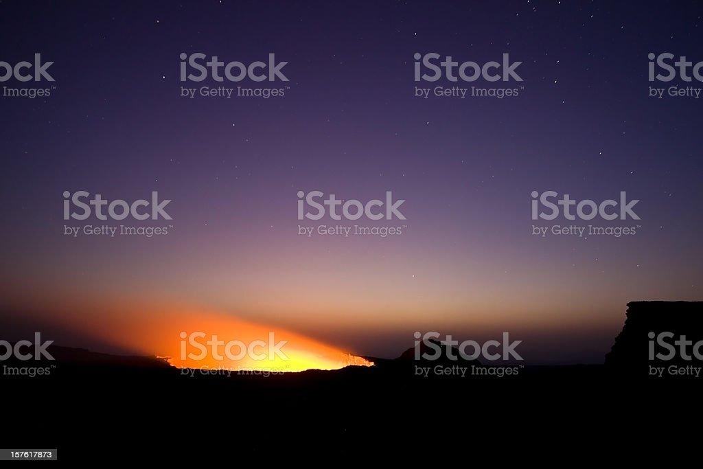 Lava lake of Erta Ale volcano Danakil Depression Ethiopia royalty-free stock photo