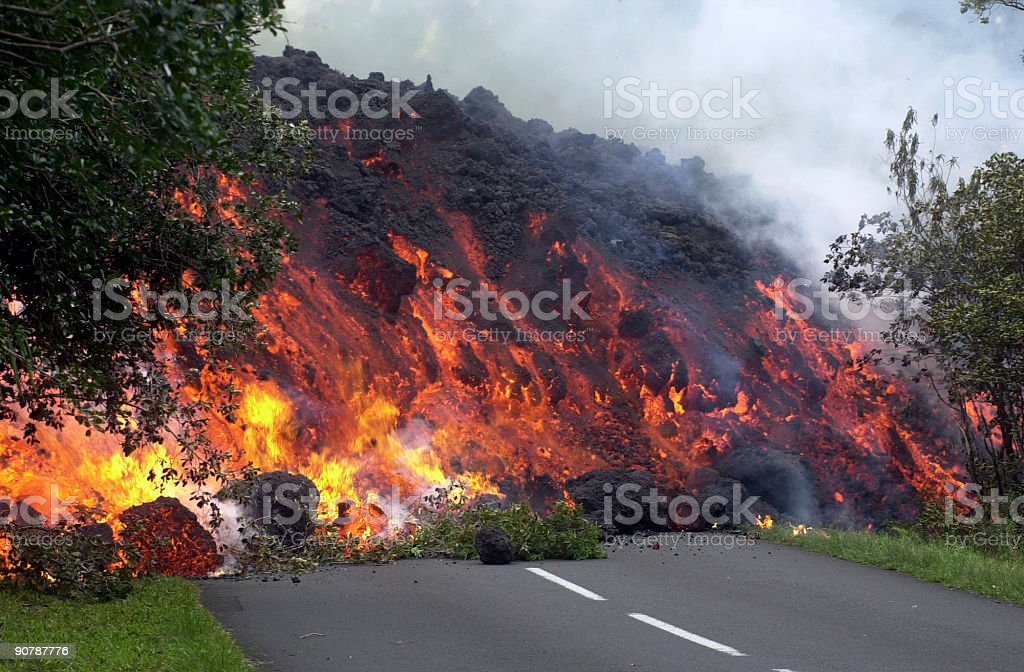 Lava on the road destroying everything royalty-free stock photo