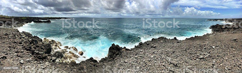 Lava rock bench stock photo