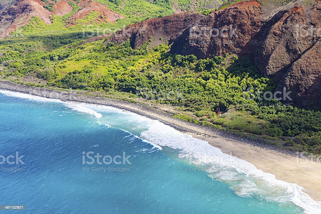 Lava rock formation on the shore in Kauai, Hawaii stock photo